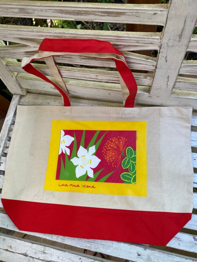 Lord Howe Island art Mountain rose and Wedding lilies tote bag