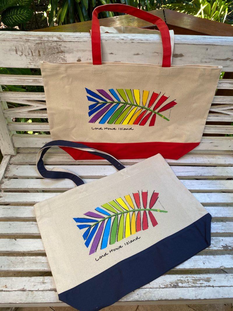 Lord Howe Island art Rainbow palm tote bag