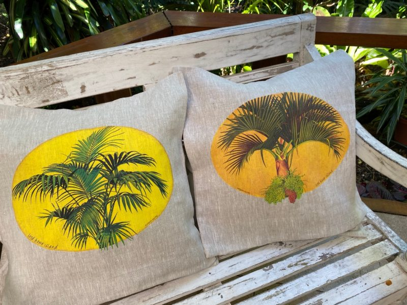 Lord Howe Island Kentia Palm and mountain palm cushion cover art